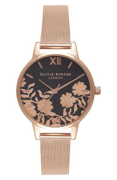 Olivia Burton Lace Detail Mesh Bracelet Watch, 30mm available at #Nordstrom