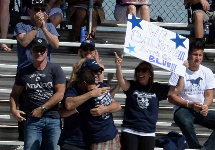 Description of . Sierra Canyon fans react after Lauren Goetzman (not pictured) scores against La Serna in the first half of a Division 5 CIF Championship soccer match at Warren High School in Downey, Calif., on Saturday, March 7, 2015. (Photo by Keith Birmingham/ Pasadena Star-News)