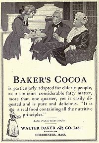 Baker's Cocoa Advertisement in Overland Monthly, January 1919. The manufacture of chocolate had been introduced in the United States in 1765 by John Hannon and Dr. James Baker in Dorchester. Walter Baker & Company was located in Dorchester.