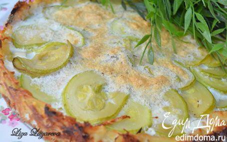 Очень вкусный овощной пирог из картофеля, цукини и сыра