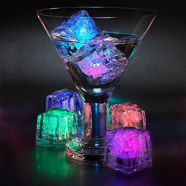 Decorative LED Ice Cubes /These decorative LED ice cubes are battery powered and glow in several colors. They're not only functional, but also water submersible.  http://thegadgetflow.com/portfolio/decorative-led-ice-cubes/