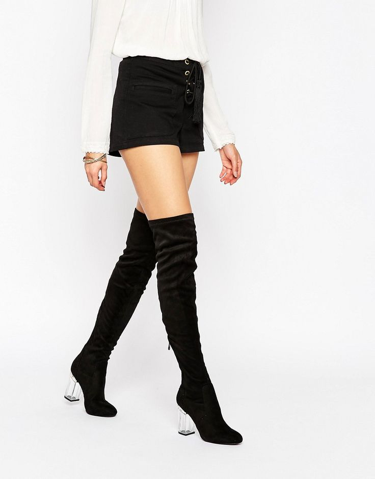 Image 1 ofPublic Desire Parker Clear Heel Over The Knee Boots
