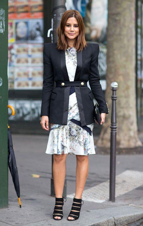 Street Style: Paris Fashion Week Spring 2014 - Christine Centenera in Balmain jacket and Aquazarra shoes