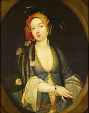 """""""This has been identified as a portrait of the famous travellor and advocate of innoculation, Lady Mary Wortley Montagu (1689-1762)."""" 1717-1718. Artist unknown."""