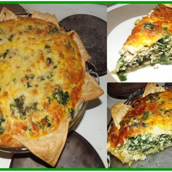 Chicken, Spinach, Spring Onion & Mushroom Quiche is loved by the whole family. #YIAHdipmix #quiche