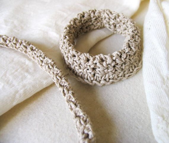 Skinny Crochet Necklace and Bracelet Neutral by totalhandmadeD
