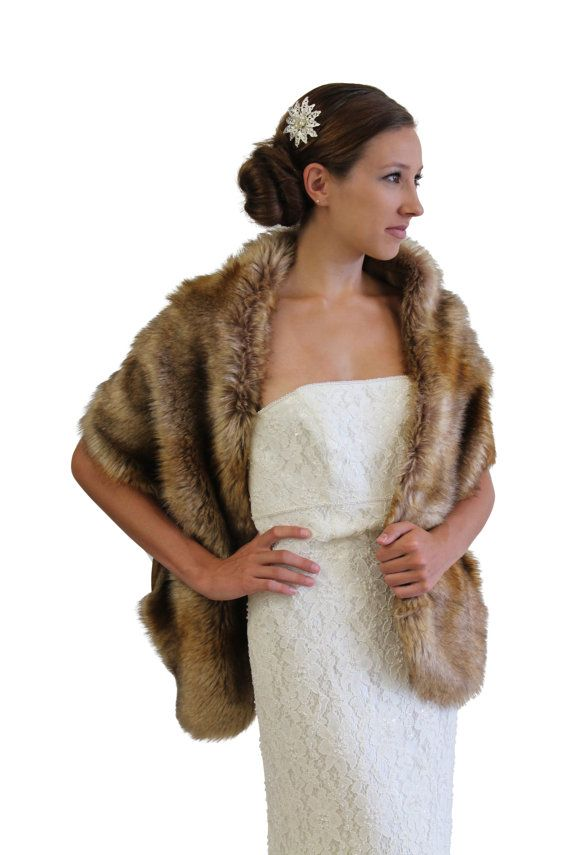 Vintage Brown Faux Fur Wedding Stole by TionDesign on Etsy, $59.99