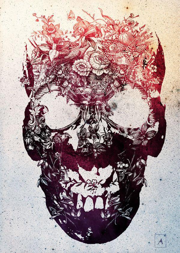 Flower Skull. Tattoo idea.