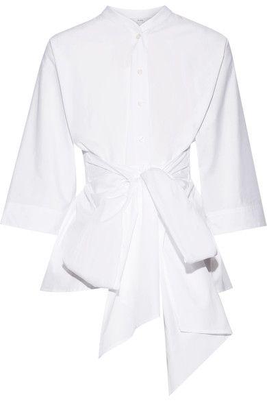 TOME - Tie-front Organic Cotton Peplum Top - White
