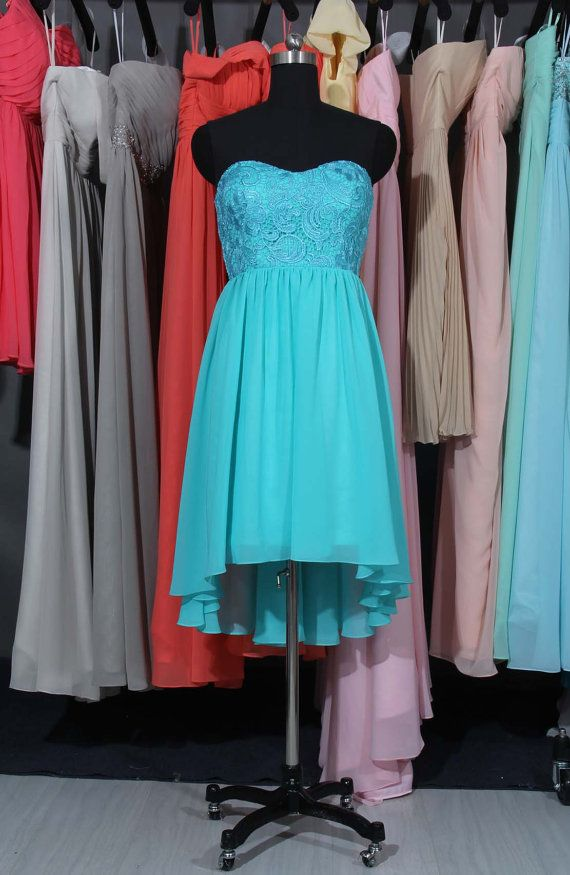 Sweetheart Lace & Chiffon High Low Skirt Bridesmaid by DressbLee, $95.00