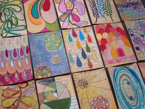 painting on old book pages.Crafts Ideas, Book Art, Art Journals, Art Class, Mixed Media, Art Ideas, Journals Doodles, Crafts Diy Art, Moleskine Ideas