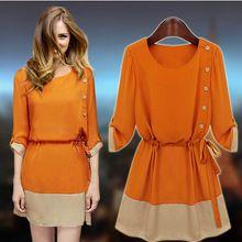 Vestidos Real vestido vestido de verão europa estilo Chiffon grande tamanho grande mulheres de duas cores(China (Mainland))