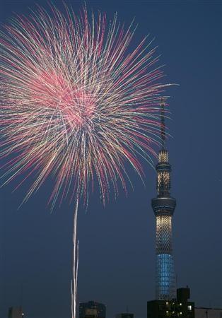 隅田川花火大会、夜空に咲いた大輪の花 昨年は雨…30分で中止(産経新聞) - Y!ニュース