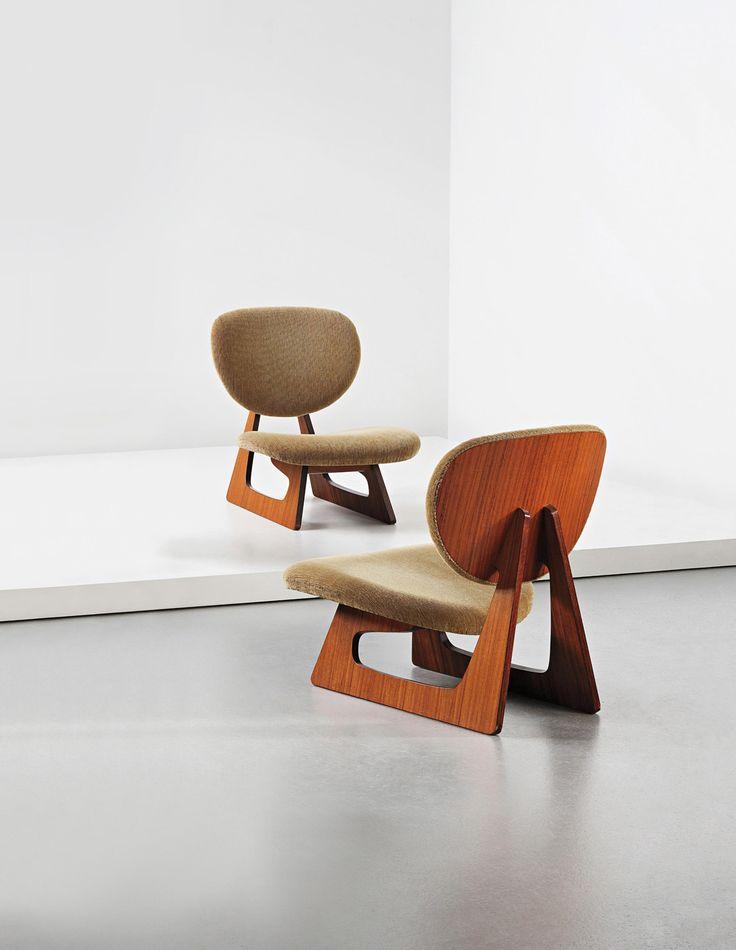Daisaku Choh and Junzo Sakakura; #5016 Teak-Veneered Plywood Lounge Chairs for Tendo Mokko, 1957.