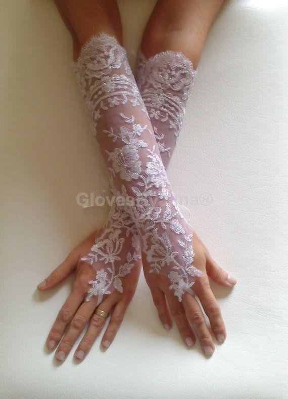 weddingstuffyouwant.unlimitedproductsolutions.com Extra Long White Wedding gloves silver frame  by GlovesByJana, $40.00