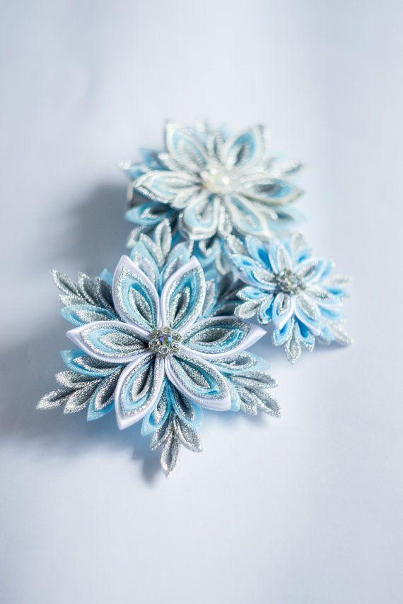 Set Accessories kanzashi. Snowflakes. Brooches by AsyaFilimonova