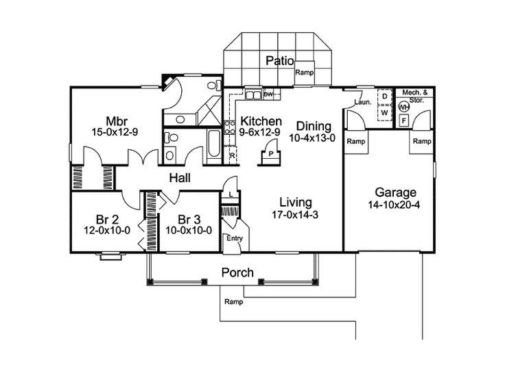 8 best handicap floor plans images on pinterest floor for Handicap accessible ranch house plans
