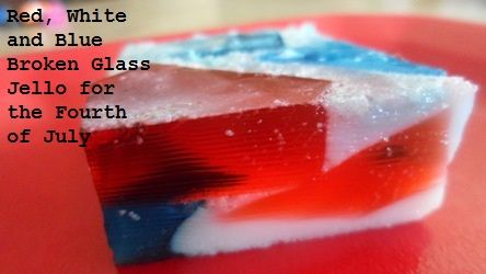 This red, white, and blue variation of broken glass Jello makes a great side dish for Fourth of July picnics.