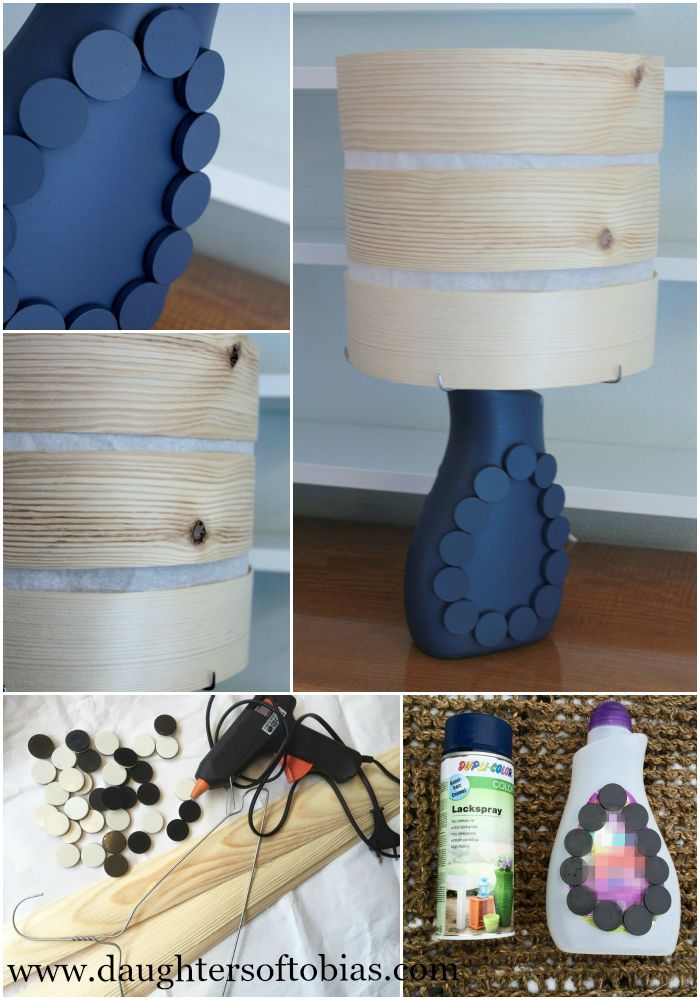 DIY lamp project. Making a lamp out of detergent bottle and wood shingles
