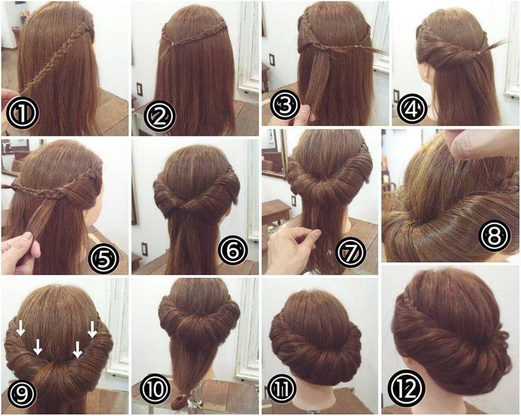 """ถูกใจ 123 คน, ความคิดเห็น 1 รายการ - nest hairsalon (@nest_hairsalon) บน Instagram: """"ギブソンタック ① フロントの髪を三つ編みにします。 ② 反対側も三つ編みにし、後ろで結びます。 ③ サイドから髪をとり三つ編みの中へ通します。 ④ 耳の後ろまで続けます。 ⑤…"""""""
