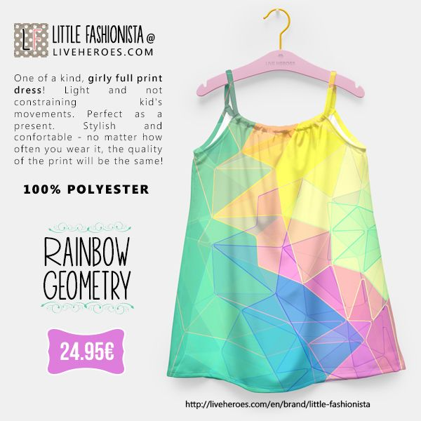#geometry #rainbow #abstract #art #modern #stylish #polygon #triangles #spikes #colorful #mesh #grid #lines #polychromatic #girly #dress #girldress #liveheroes #liveheroesshop #littlefashionista