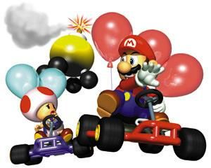 Mario bursts one of Toads bubbles in battle mode from the official artwork set for #MarioKart64 on the #N64. #MarioKart #Mario #Nintendo64. Visit for more info http://www.superluigibros.com/mario-kart-64
