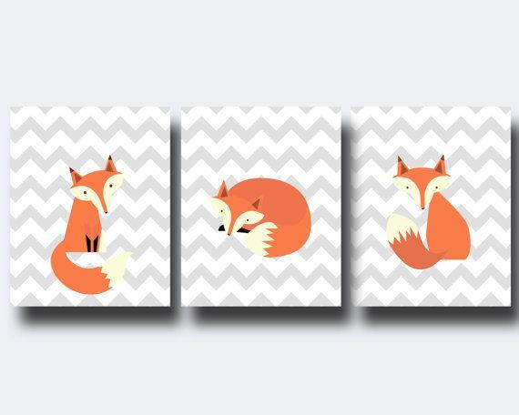 Pépinière Fox Wall Art Print, impression boisée, Baby Boy Nursery Wall Decor Print-Custom couleur : N843 N844, 845 - sans cadre