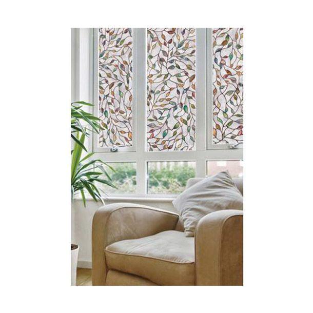 Medidas: 60.96 cm alto x 5.08 cm ancho. Peso 0.45 Kg. Modelo 409470. Crea el efecto visual de vidrieras y textura. Fácil de instalar y quitar. No usa adhesivos. Patrón se repite para cubrir cualquier tamaño de ventana. Puede ser recortado para ajustarse. Proporcionar privacidad y protección UV.