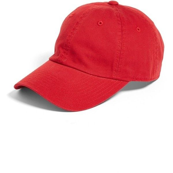 Women's American Needle Washed Cotton Baseball Cap ($24) ❤ liked on Polyvore featuring accessories, hats, red, red hat, red ball cap, cotton baseball cap, baseball hat and ball cap