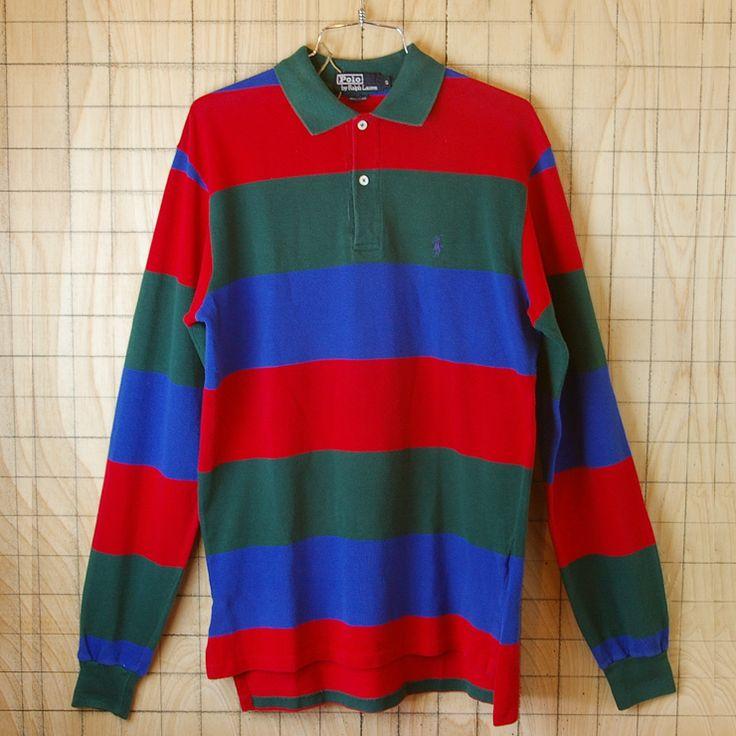 【Polo】古着USA製グリーン×レッド×ネイビー(緑×赤×青)ボーダーメンズ長袖ポロシャツ【ポロ・ラルフローレン】