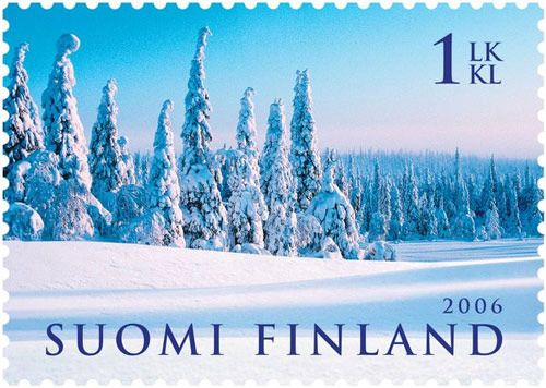 [Voted Most Beautiful Stamp of the Year 2006 in Finland]  Finnish is a member of the Finnic group of the Finno-Ugric family of languages. The Finnic group also includes Estonian and other minority languages spoken around the Baltic Sea.
