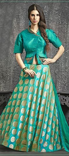 734553 Blue color family Long Lehenga Choli in Banarasi, Brocade, Raw Dupion Silk fabric with Border, Kasab, Moti, Patch, Zari work .