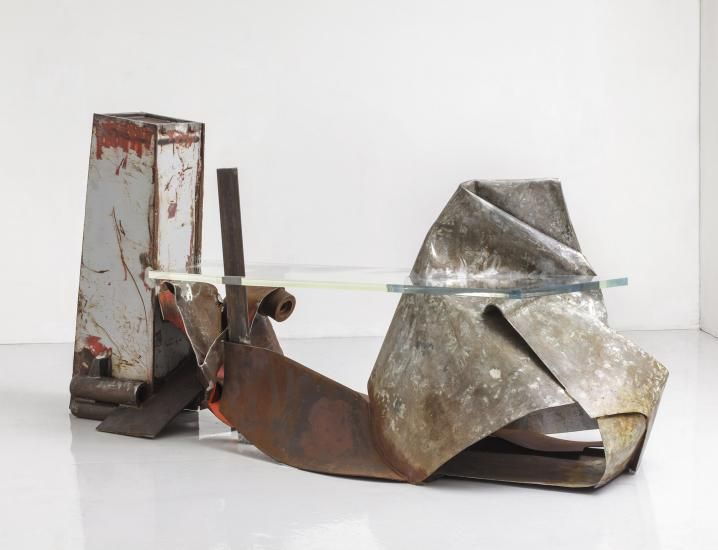"""Anthony Caro - """"Highway"""" {2013}; steel and tropical yellow perspex, 130 x 258 x 102 cm"""