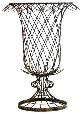 Pair French Country Small Urn Shaped Tulip Basket Vase Planter transitional-outdoor-planters