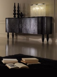 Diva Collection black lacquered sideboard with black alligator skin doors.