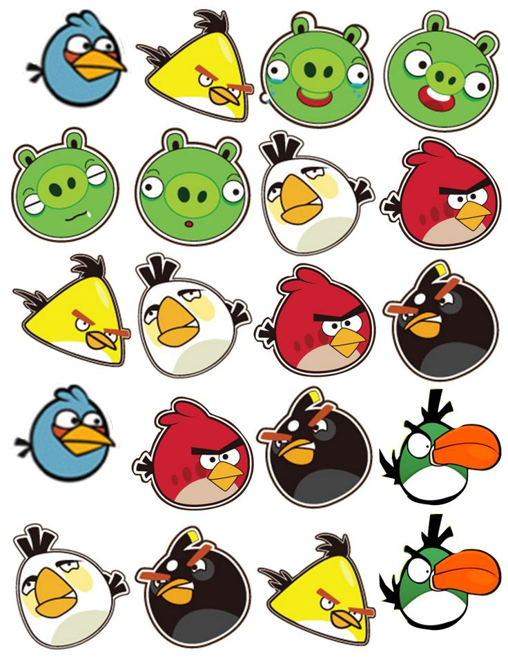 Angry bird clipart can be used for a verioty of party ideas from stickers,cupcake toppers gift wrapping images,trading cards ect...