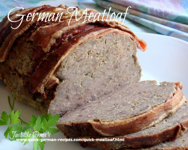 Meatloaf -- German style -- easy, delicious! Check out http://www.quick-german-recipes.com/quick-meatloaf.html