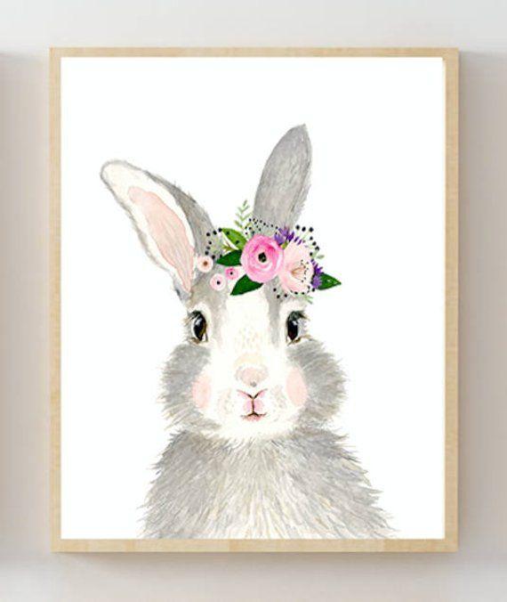 Watercolor Rabbit Painting Woodland Nursery Decor