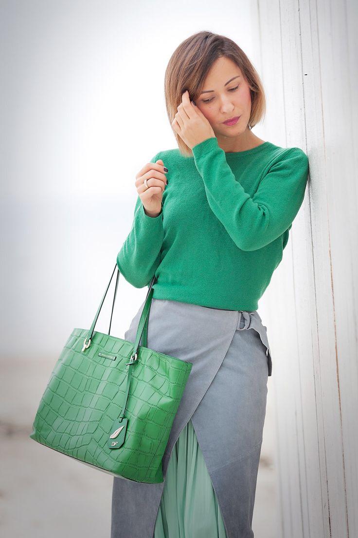зеленый цвет в одежде, с чем носить зеленый джемпер, с чем носить зеленую сумку
