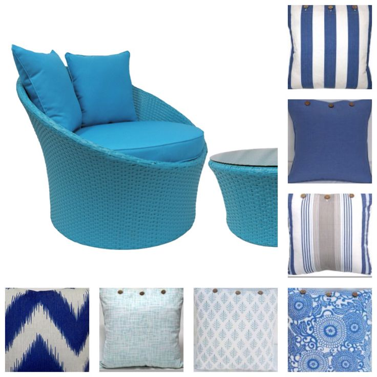 Cushion covers and blue Wicker Grace Chair