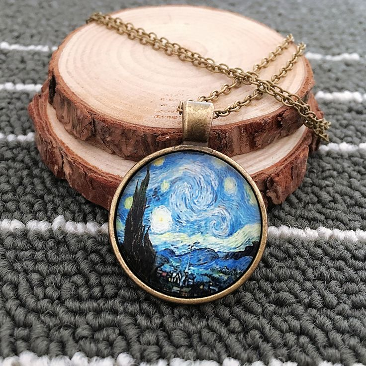 Fashion new vintage style van Gogh The Starry Night photo retro  pendant long chain  jewelry for girl women  LY513