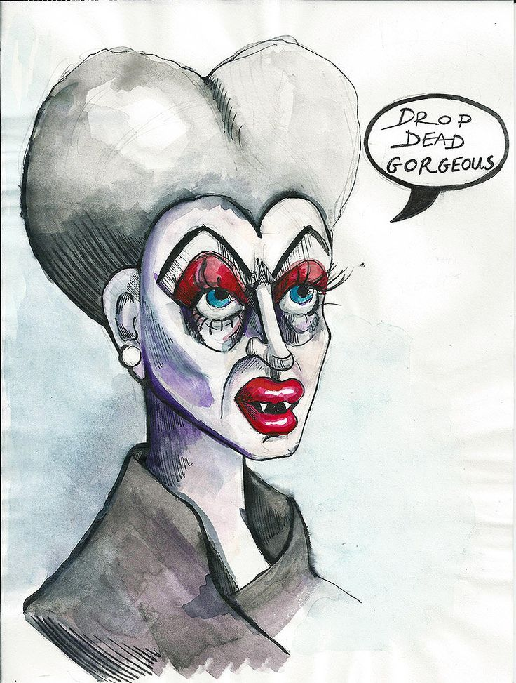Funny Original Illustration Mixed media Drawing - Drag queen - Drop Dead Gorgeous by PapeMoe on Etsy
