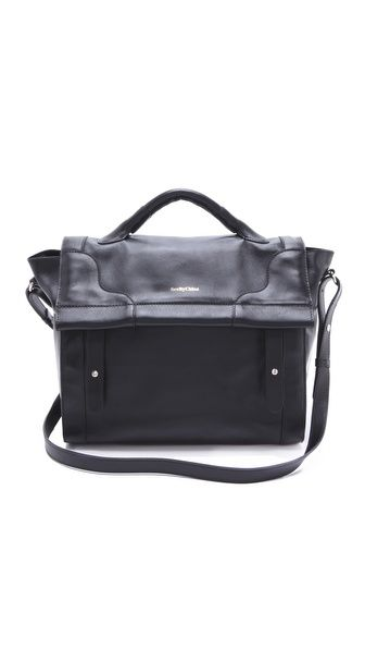 see by chloe - leather school bag. fold over magnetic top flap. $595. #shopbop