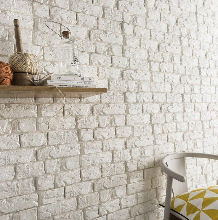 Plaquette de parement plâtre blanc Harlem. #homedecor #ideedeco #mur