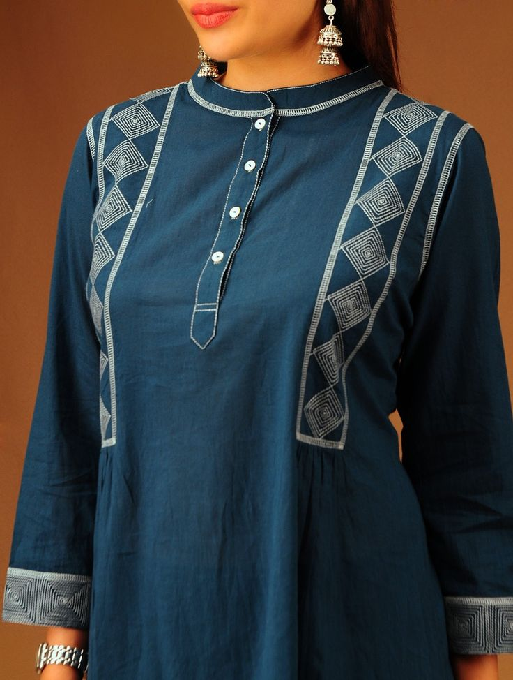 Indigo Band Collar Flared Cotton Tunic.