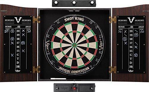 Viper Vault Sisal/Bristle Steel Tip Dartboard & Cabinet Bundle: Elite Set (Shot King Dartboard Darts Shadow Buster and Laser Throw Line)