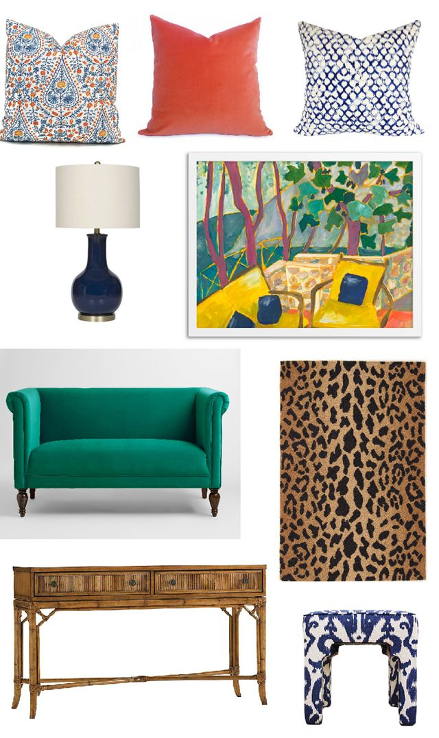 Mix This With That (Jewel Toned Home Accessories)--block print pillow, velvet coral, blue and white, navy lamp, emerald green settee, leopard rug/runner, fatten console, ikat ottoman, colorful artwork.  PRODUCT SOURCES in blog post.