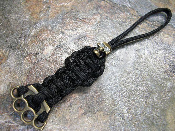 Black paracord knife lanyard bronze gid skull brass for Knife lanyard ideas