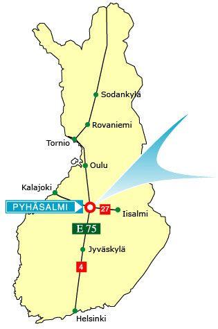 In the middle of Finland, there´s a tiny village called Pyhäsalmi (Pyhäjärvi) and our festival is held there every year! Sijainti Suomessa:   Pinta-ala: 1459 km2  Väkiluku: n. 6000  Järvipinta-ala: 125 km2   Etäisyyksiä:   Kuopio - 150 km  Oulu - 165 km  Jyväskylä - 180 km  Kajaani - 150 km  Kalajoki - 130 km