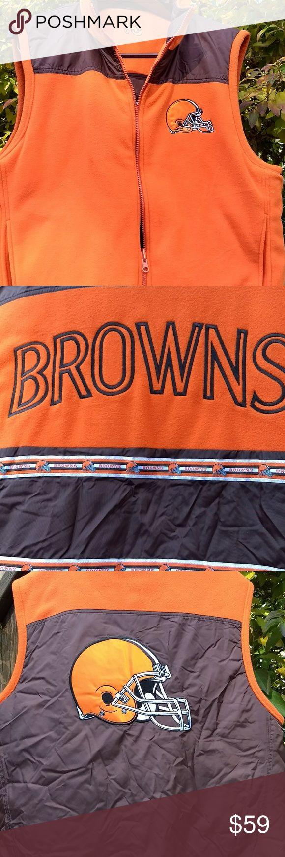 NFL Cleveland Browns reversible mens Vest L Large Men's L Large reversible Poly/Nylon NFL Cleveland Browns Vest. In gently used condition. unique sports NFL Jackets & Coats Vests